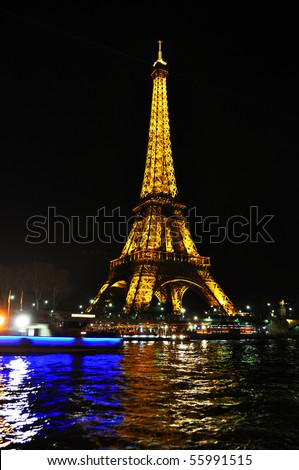 PARIS - APRIL 4: Eiffel tower at night on April 4, 2010 in Paris. The Eiffel tower is the most visited monument of France.