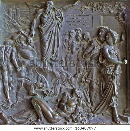 PARIS, APRIL 11: Relief from Madeleine church - prophet Natan and king David - old testament scene  from year 1837 by M. Triqueti on April 11, 2004, Paris. - stock photo