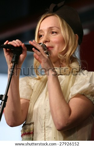 PARIS - APRIL 3: Swedish singer, composer, song writer Lisa Ekdahl performs in the FNAC showcase upon release of her new album 'Give me that slow knowing smile' on April 3, 2009 in Paris, France