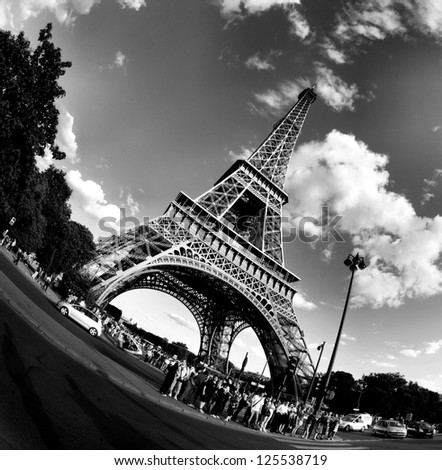 PARIS - APRIL 21:The Eiffel tower stands 324 metres (1,063 ft) tall. Monument was built in 1889, attendance is over 7 millions people. View on April 21, 2012 in Paris. - stock photo