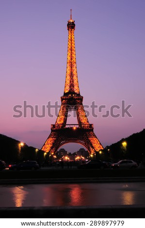 PARIS - APRIL 27, 2011: The Eiffel Tower stands 324 metres (1,063 ft) tall. Monument was built in 1889.