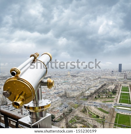 PARIS - APRIL 11: View from the  Eiffel Tower in the early spring , late eveningon april 11, 2013 in Paris, France - stock photo