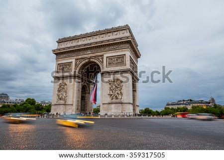 Paris Arc de Triomphe, France - stock photo