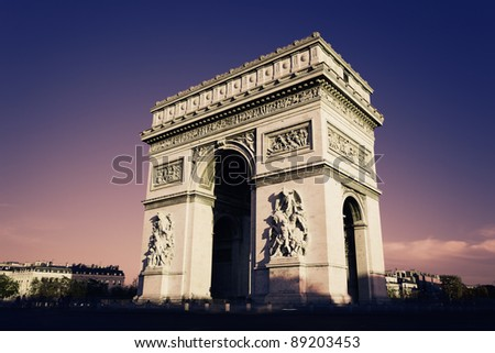 Paris, Arc de Triomphe in the evening