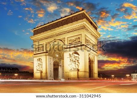 Paris, Arc de Triumph, France - stock photo