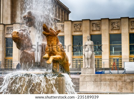 Paris. Architecture detail of Trocadero gardens in front of Eiffel Tower. - stock photo