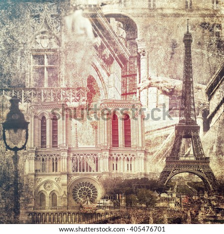 Paris architecture sights.Vintage style.Textured old paper background  - stock photo