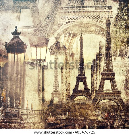 Paris architecture sights.Vintage style.Textured old paper background