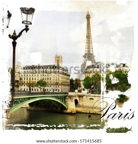 Paris, artistic vintage style picture - stock photo