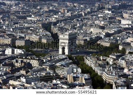 Paris as seen from the Tower of Eiffel - stock photo