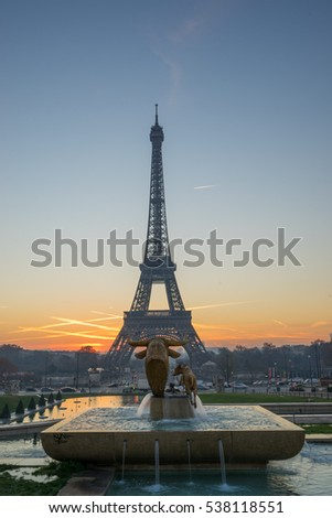 Paris at dawn, with the Eiffel Tower