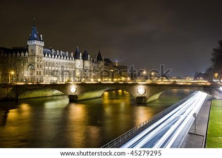 Paris at Night - Bridge Saint-Michel - stock photo