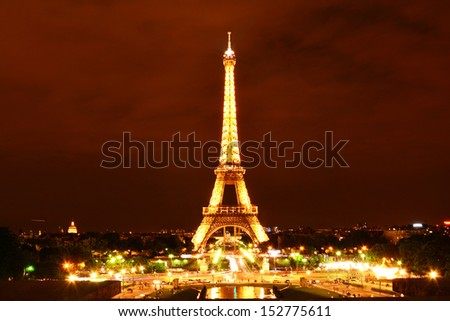 PARIS - AUG 15 : Eiffel Tower Light Performance Show in Dusk on August 15, 2013. The Eiffel tower is the most visited and the hightest monument of France.  - stock photo