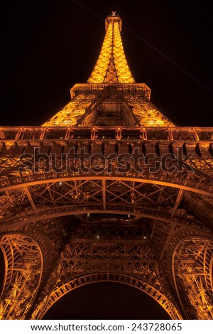 Paris, August 24, Details of the illuminated Eiffel Tower by night. The most recognizable landmark of the world. August 24, 2011 in Paris, France.