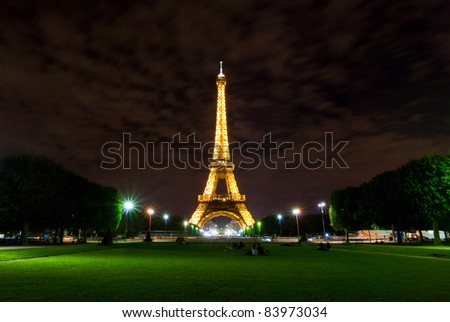 PARIS, August 2010 - Eiffel Tower during summer night in Paris, France on 13th of August 2010 - stock photo