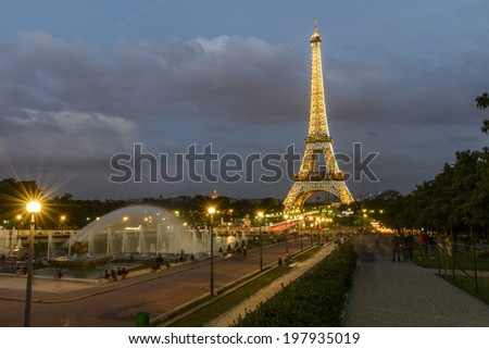 Paris - August 31: Illuminated Eiffel Tower at night from Trocadero on August 31, 2013 in Paris, France - stock photo