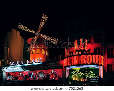 PARIS - AUGUST 24, 120 years Anniversary of the Moulin Rouge cabaret in August 24, 2009 in Paris - stock photo
