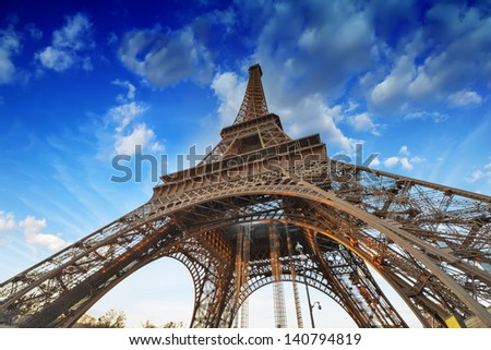 Paris. Beautiful view of Eiffel Tower with sky sunset colors. - stock photo