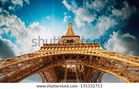 Paris. Beautiful view of Magnificent Eiffel Tower - stock photo