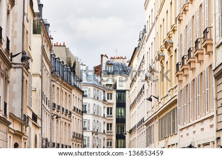 Paris buildings in cloudy spring day - stock photo