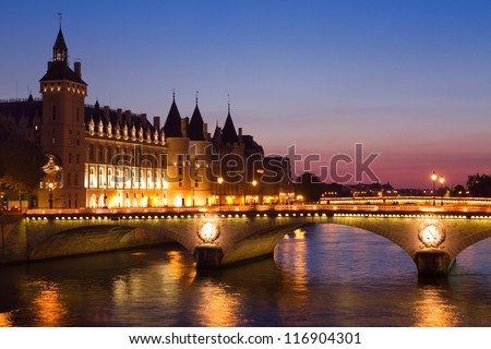 Paris by night, Seine River Bridge - stock photo
