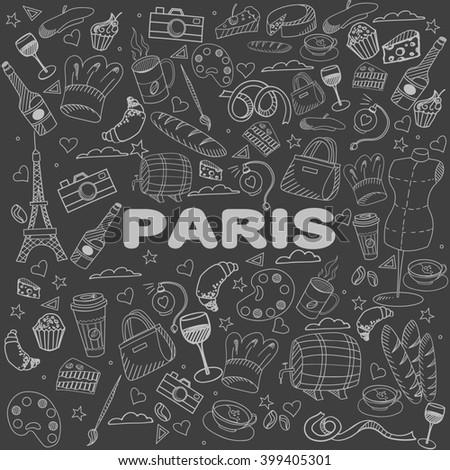 Paris chalk line art design raster illustration. Separate objects. Hand drawn doodle design elements. - stock photo