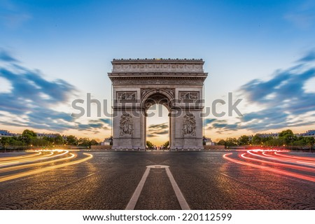 Paris, Champs-Elysees at night. - stock photo