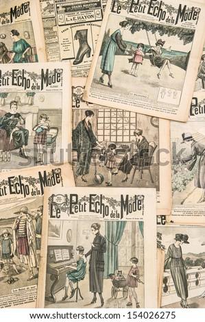 "PARIS - CIRCA 1919: antique french fashion magazine ""La Mode Illustree"" from 1919. La mode Illustree was the most popular fashion magazine for woman in France in 1860 - 1937. PARIS, FRANCE CIRCA 1919 - stock photo"