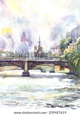 Paris. City Landscape sketch . Watercolor hand painted illustration on paper.