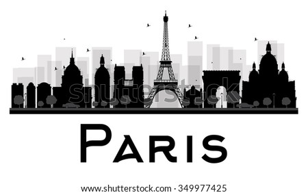 Paris City skyline black and white silhouette. Simple flat concept for tourism presentation, banner, placard or web site. Business travel concept. Cityscape with famous landmarks - stock photo