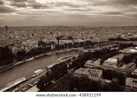 Paris city skyline rooftop view and River Seine at sunset, France. - stock photo