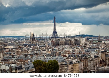 Paris city view with Eiffel Tower, France