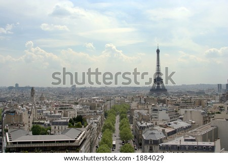 Paris city with view of Eiffel Tower, France