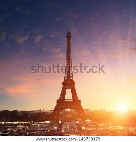 Paris cityscape at sunset - eiffel tower - stock photo