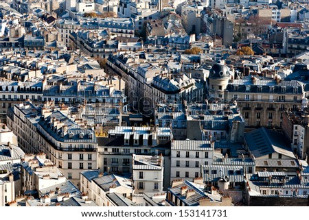 Paris Cityscape from Montmartre in France