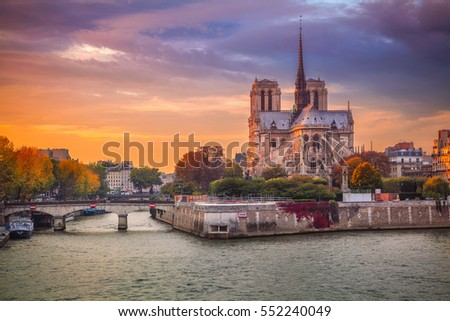 Paris. Cityscape image of Paris, France with the Notre Dame Cathedral during sunset.