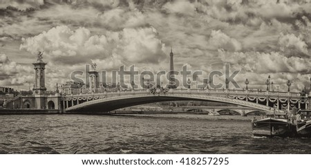 paris cityscape old houses landscape huge panorama view from seine river boat old style sepia - stock photo