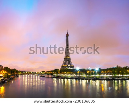 Paris cityscape with Eiffel tower in the morning - stock photo