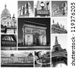 Paris collage in black and white - stock photo