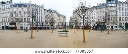 Paris court bench tree avenue home track Square sand walk autumn puddles - stock photo
