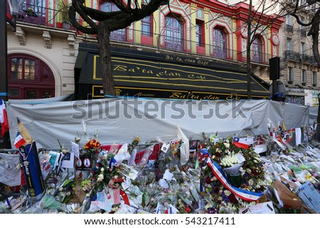 PARIS - DECEMBER 14: A makeshift memorial outside the Bataclan Theatre on December 14, 2015 in Paris, France. A major terrorist attack occurred at the theater on November 13, 2015.