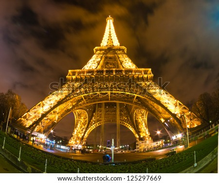 PARIS - DECEMBER 05: Lighting the Eiffel Tower on December 05, 2012 in Paris. The Eiffel tower is the most visited monument of France with about 6 million visitors every year.