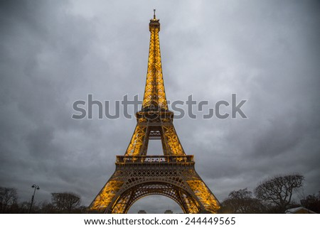 PARIS - DECEMBER 25: Paris cityscape with Eiffel tower on december 25, 2014 in Paris, France. It's an iron lattice tower located on the Champ de Mars and was named after the engineer Gustave Eiffel.