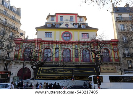 PARIS - DECEMBER 14: The exterior of the Bataclan Theatre on December 14, 2015 in Paris, France. The Bataclan Theatre is a concert venue that was the site of a terrorist attack on November 13, 2015.