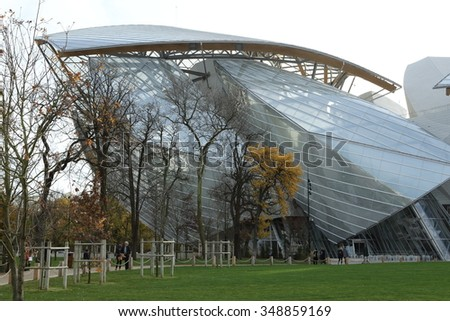 Paris - December 04, 2015: The Louis Vuitton Foundation is a recently opened contemporary art museum in paris designed by Frank Gehry.