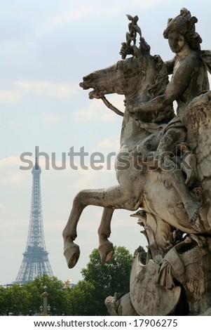 Paris: Eiffel  tower and horse statue - stock photo