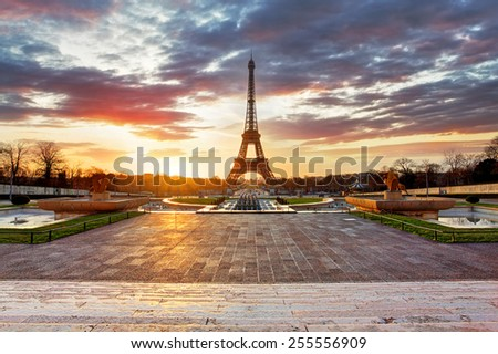 Paris, Eiffel tower at sunrise. - stock photo