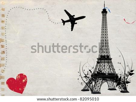 paris eiffel tower empty card - stock photo