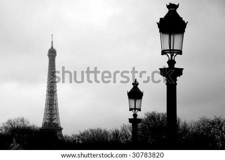 Paris Eiffel tower in black and white - stock photo