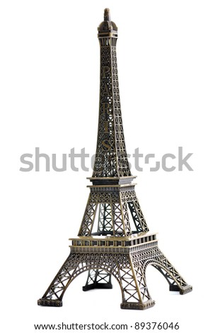 paris eiffel tower model isolated on white background in studio